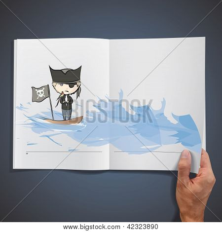 Open book with illustrations of pirate