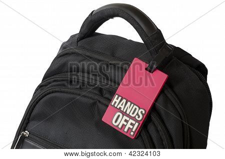 bag with sign on it on white background