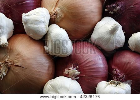 Onion and garlic background