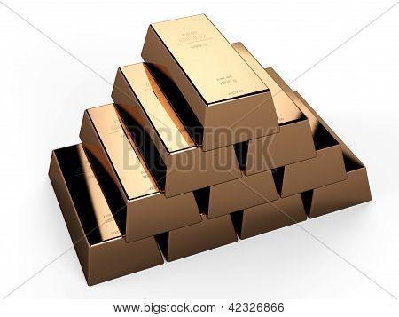 3d gold ingot...3d gold bars...This is a 3d render illustration