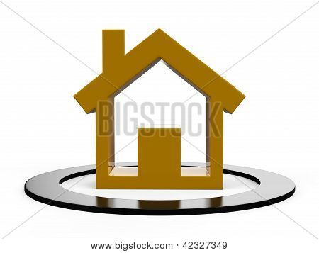 3d render house symbol isolated on white