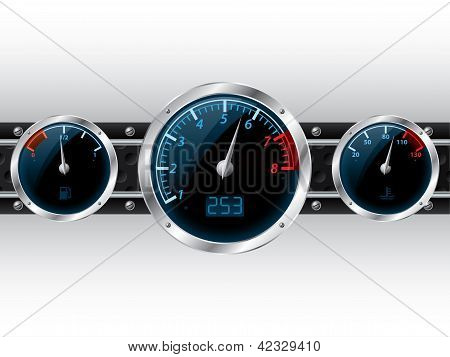 Dashboard Gauges With Industrial Backgound