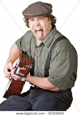 Guitarist Sticking Out His Tongue