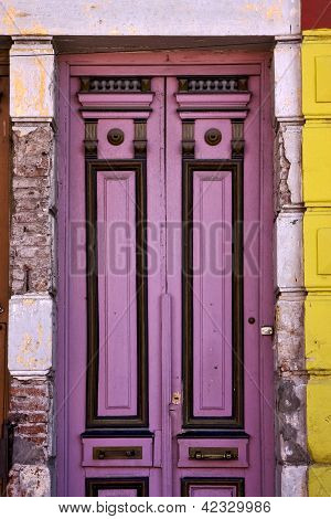 Black Violet Wood Old Door In The Centre Of La Boca