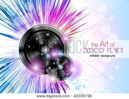 Disco club flyer with a lot of abstract colorful design elements. Ideal for poster and music background.
