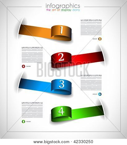 Infographic template design - Original geometric paper shapes with shadows. Ideal to display data and informations with modern style.