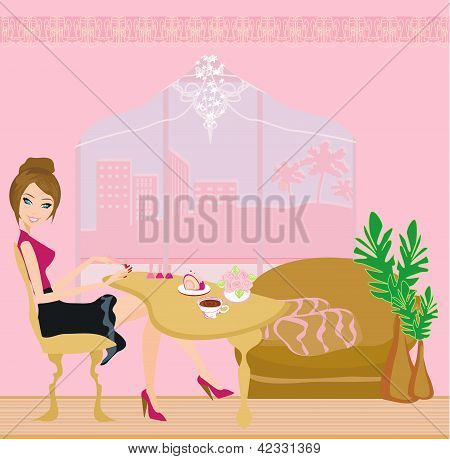 Young lady doing manicure in home