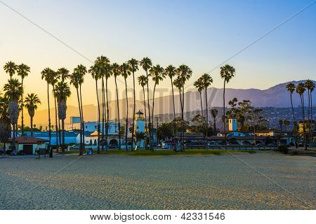 Scenic Promenade With Lighthouse And Palms In Santa Barbara