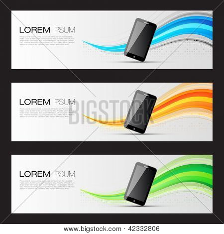 Smart Phone Promotion Banners | Website Headers Template | EPS10 Editable Vector Design