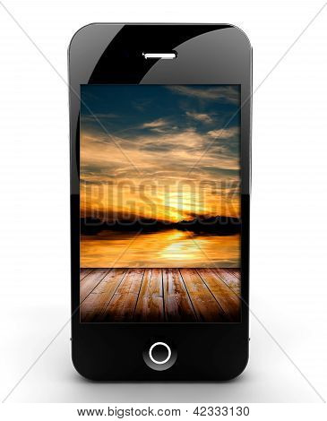 Smartphone With Sunset