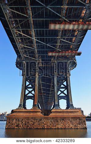 Manhattan Bridge closeup in the morning over East River in Lower Manhattan in New York City