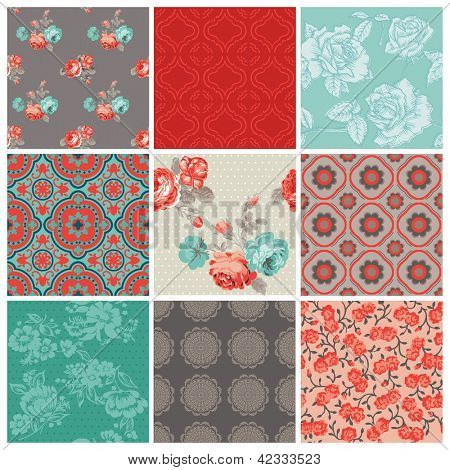 Seamless Vintage Flower Background Set- for design and scrapbook - in vector
