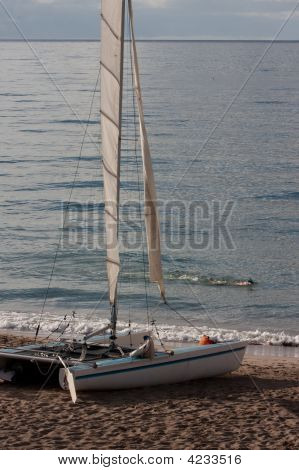 Catamaran Beached Gulf Of Mexico