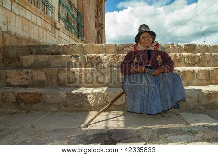 Peruvian Indian Woman in Traditional Dress