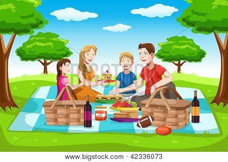 Met een picknick en gelukkige familie