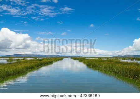 Landscape of a lake adn skyes