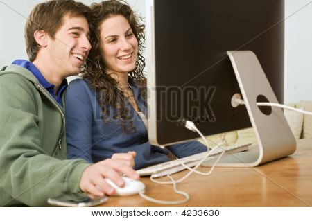 Teenager Couple Computer
