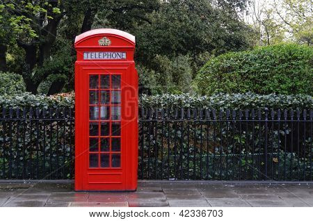 Traditional red telephone box, K2 model in London, England, UK