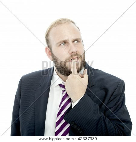 Beard Business Man Is Thinking And Unsure
