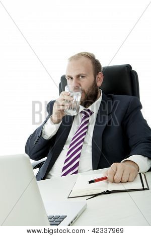 Beard Business Man Drink Glass Water While Work