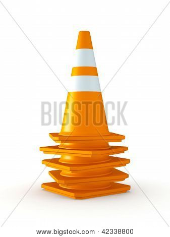 Isolated Stack Of Traffic Cones