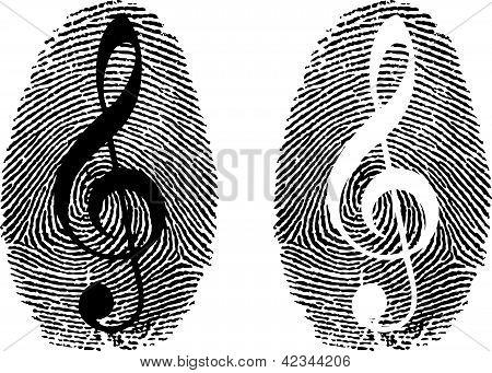 Fingerprint With Music Symbol