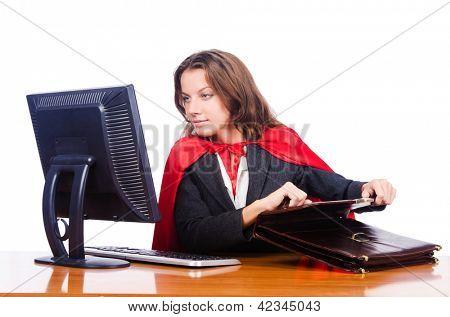 Superwoman worker working in office