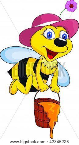 Bee cartoon with honey bucket