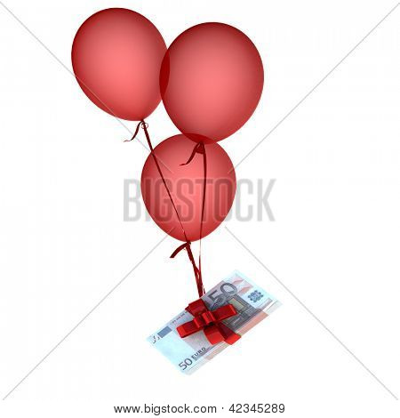 Balloons floating holding a stack of euros attached by a red bow