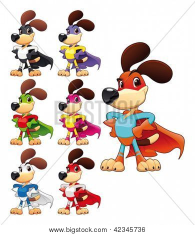 Funny dog super hero. Vector cartoon isolated characters