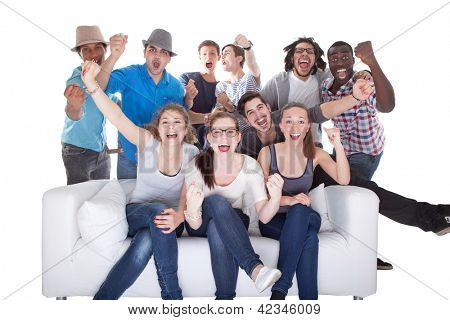 Group Of Friends Enjoying Watching Television On White Background