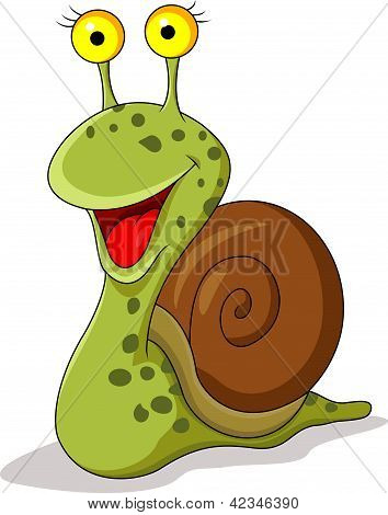 Smiling snail cartoon