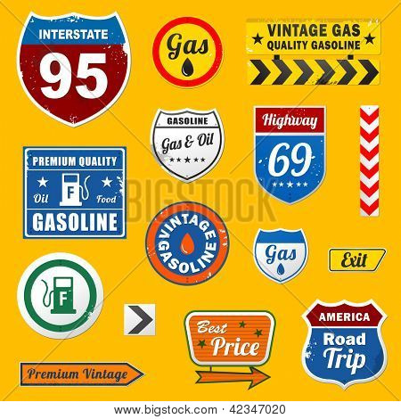Set of vintage retro signs and labels