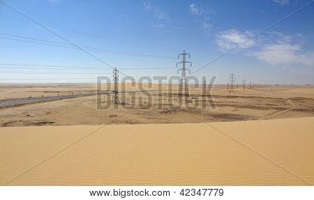 Desert With Power Poles