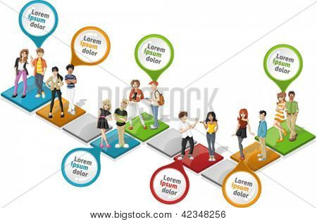 Colorful template for advertising brochure with cool cartoon young people over path