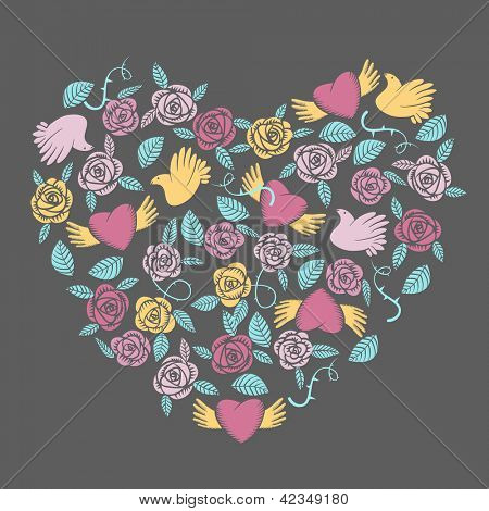Vector valentine ornate in shape of heart