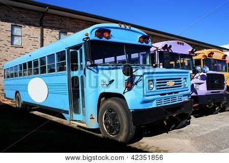 School Bus of Bright Blue