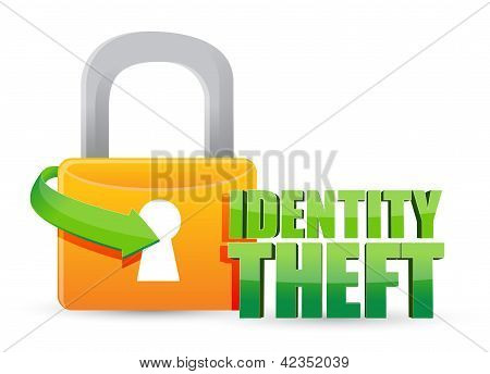 Secured Identity Theft Gold Lock Illustration