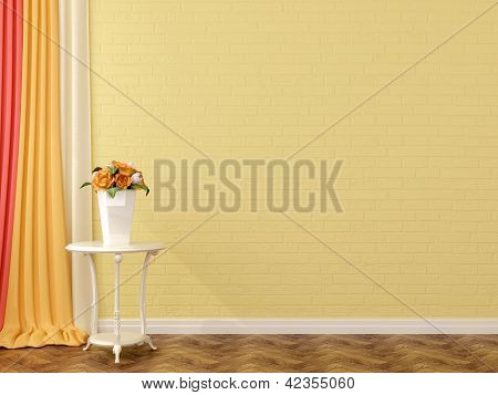 Yellow Brick And Flowers