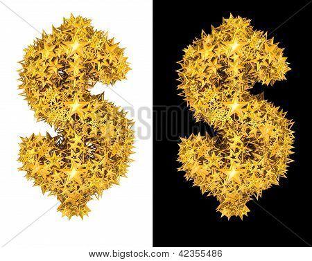 Oro brillante stars signo de dólar