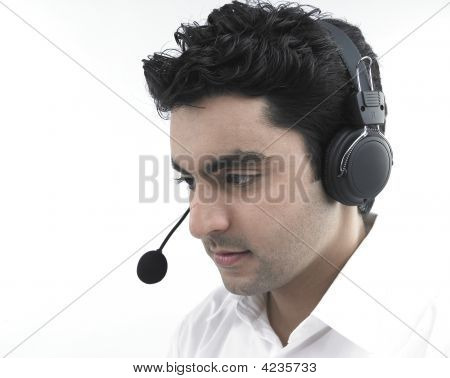 A Handsome Asian Male Call Centre Executive Of Indian Origin