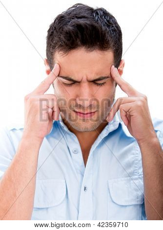 Man with a headache - isolated over a white background