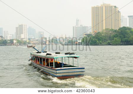 Boat In The River Of Chao Praya In Bangkok, Thailand.