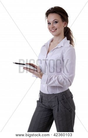 Smiling Girl Isolated Over White With A Digital Tablet In Her Hands