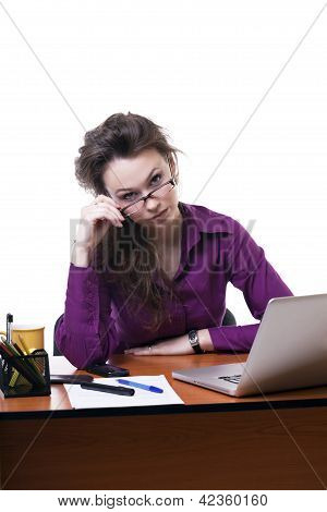 Nervous Businesswoman Looking Throu Her Eyeglasses Isolated On White