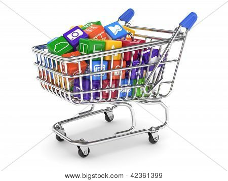 Shopping Cart With Media Boxes