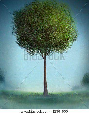 Lone Tree - Digital Painting