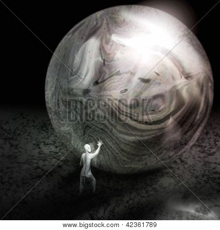 Tiny Man Reflected In A Bubble - Digital Painting