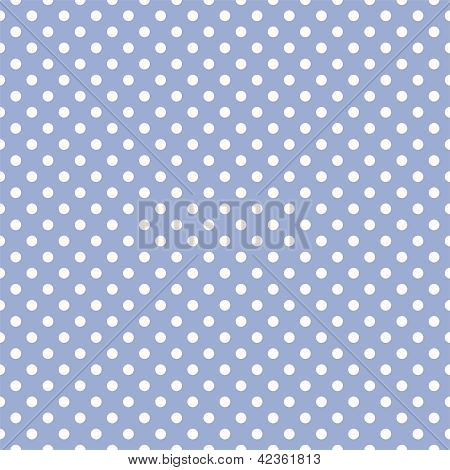 Seamless vector pattern with white polka dots on a sweet pastel blue background