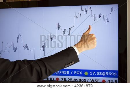 stockbroker giving approval a purchase (fictitious market data)